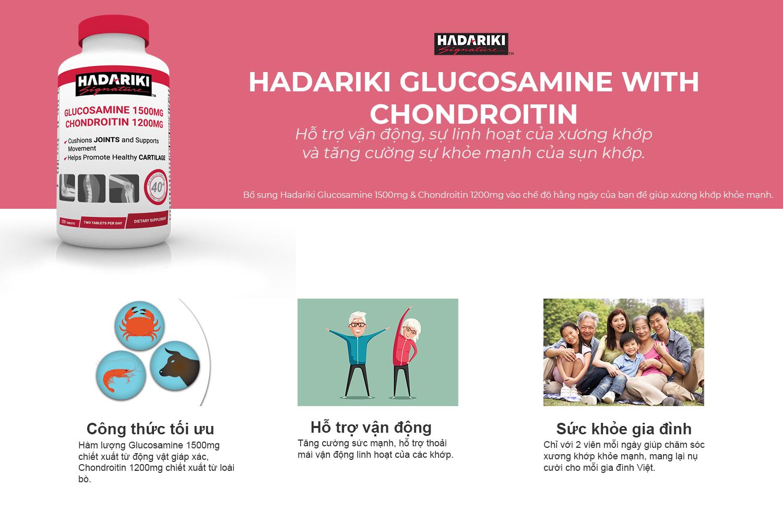 Hadariki Glucosamine Chondroitin hỗ trợ sức khỏe gia đình bạn