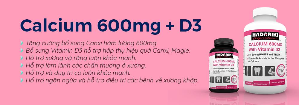 Hadariki Calcium 600mg With Vitamin D3 giúp bổ sung Canxi hiệu quả