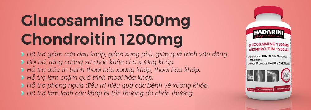 Công dụng củaHadariki Signature Glucosamine 1500mg Chondroitin 1200mg