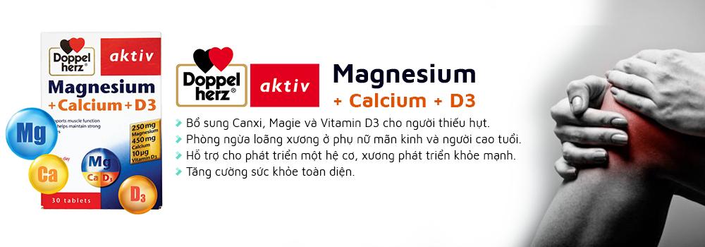 Doppelherz Magnesium + Calcium + D3 hỗ trợ tăng cường xương, răng chắc khỏe