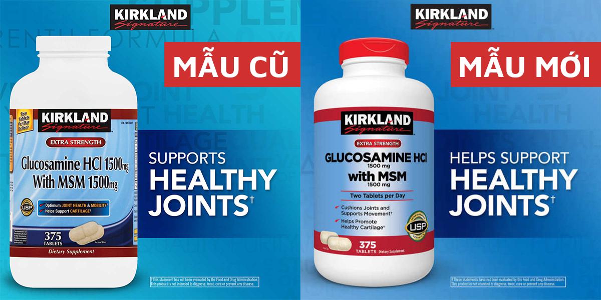 Kirkland Glucosamine HCL 1500mg with MSM 1500mg Mẫu Cũ (bên trái) và Mẫu Mới 2018 (bên phải)