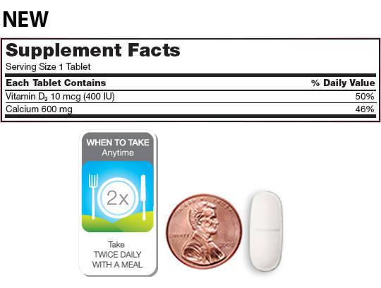 Thành phần trong mỗi viên uống Canxi 600mg Vitamin D3