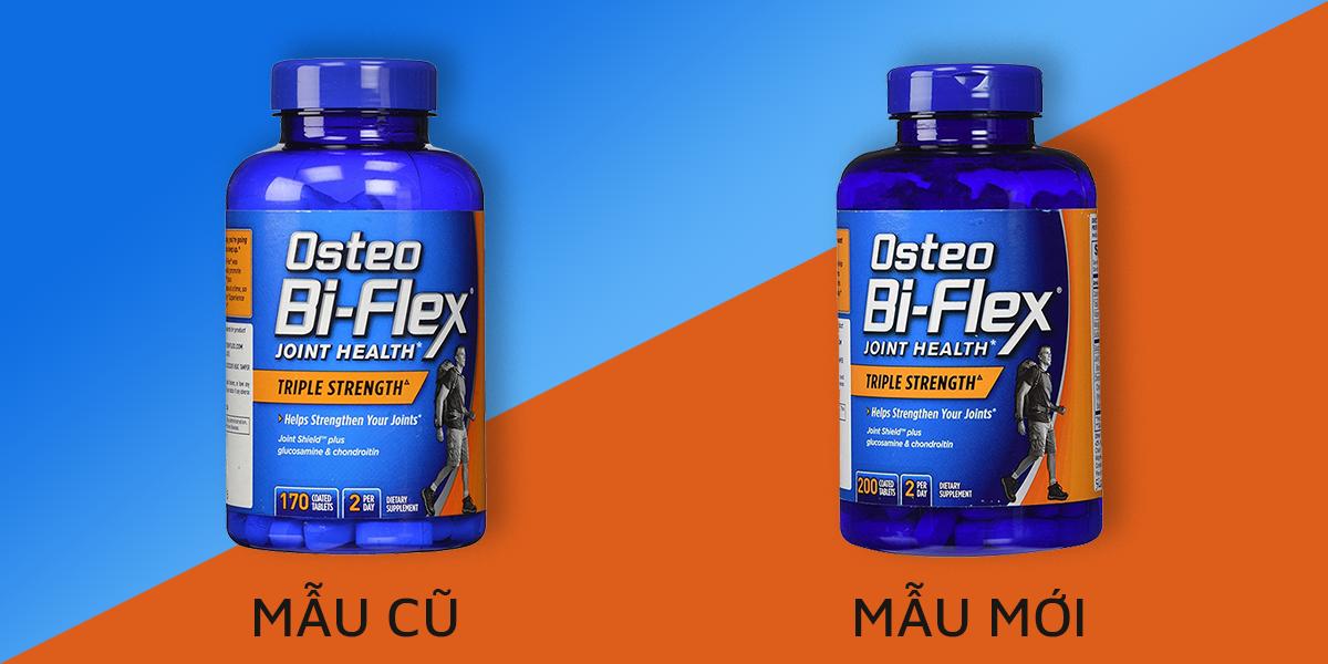 Viên uống bổ khớp Osteo Bi-Flex Triple Strength mẫu cũ (bên trái) và mẫu mới (bên phải)