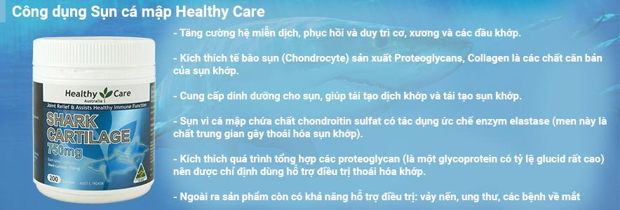 Công dụng Sụn cá mập Healthy Care