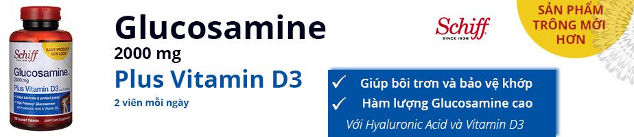 Schiff Glucosamine 2000 mg Plus Vitamin D3 giúp bôi trơn và bảo vệ khớp