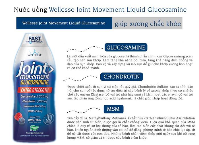 Thành phần chính gồm Glucosamine, Chondroitin và MSM giúp xương chắc khỏe