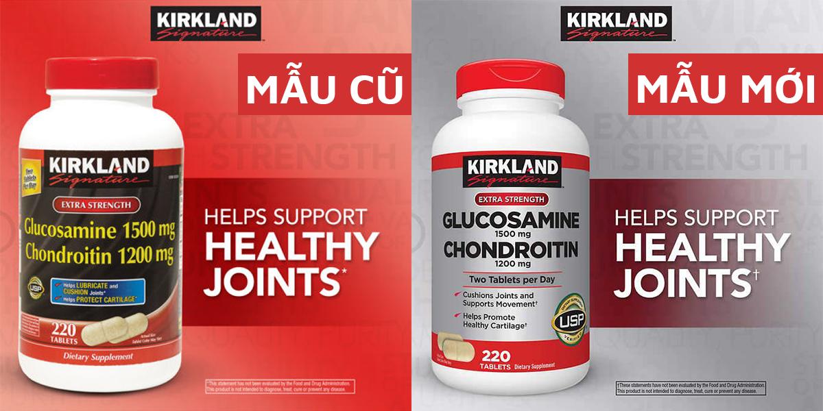 Thuốc bổ khớp Kirkland Glucosamine 1500mg & Chondroitin 1200mg Mẫu Cũ (bên trái) Mẫu Mới (bên phải)