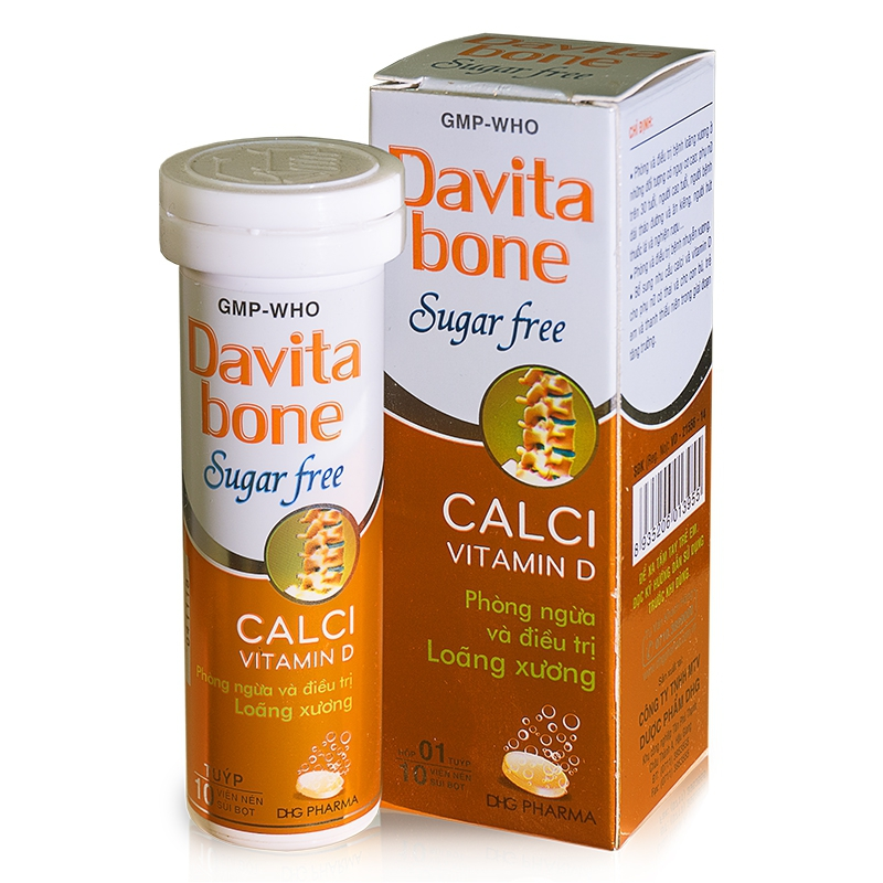 Davita Bone Sugar Free DP 1500mg DHG, Tube 10 viên