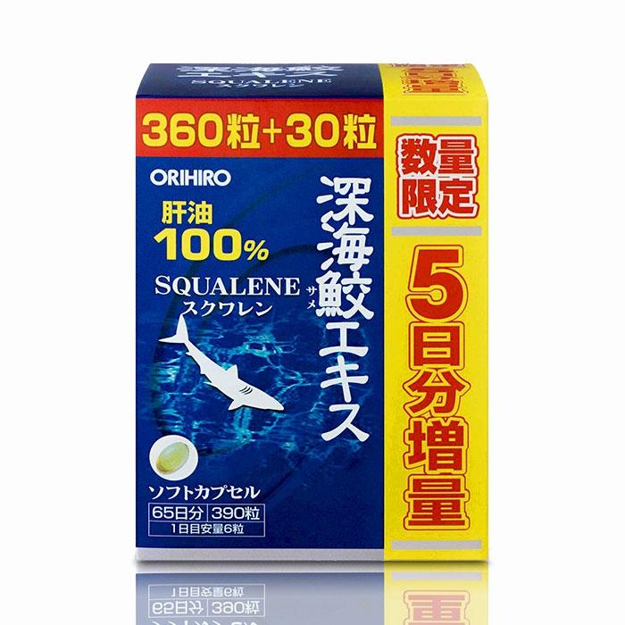 Sụn cá mập Orihiro Squalene Nhật Bản - Dầu gan cá mập (Chai 390 viên)