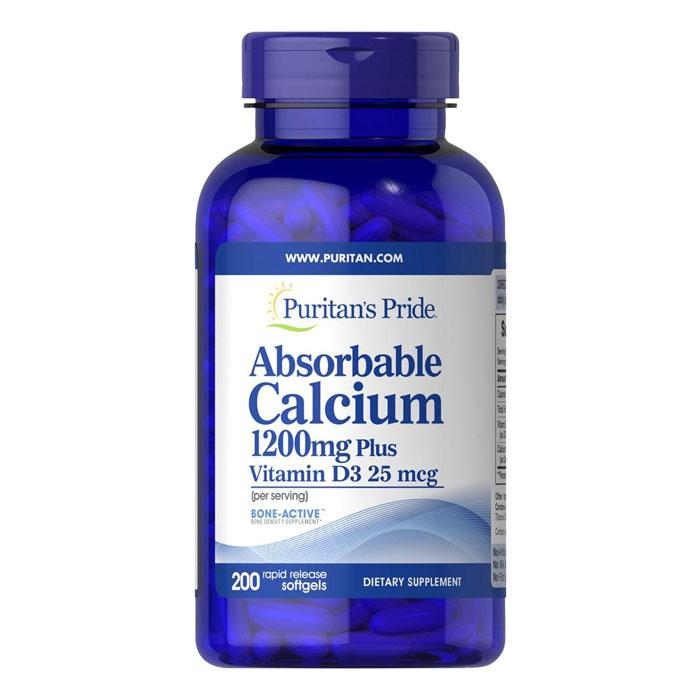 Puritan's Pride Absorbable Calcium 1200mg Plus Vitamin D3 25mcg, Chai 200 viên