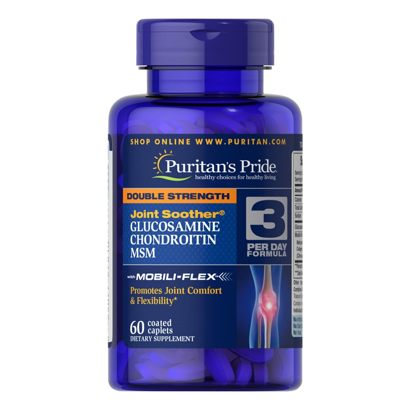 Puritan Pride Double Strength Glucosamin Chondroitin MSM, Chai 60 viên
