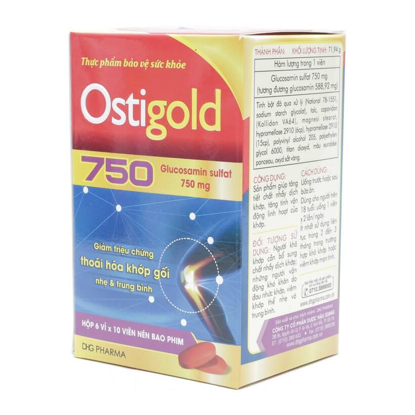 Thực phẩm bảo vệ sức khỏe Ostigold 750mg DHG, Hộp 60 viên