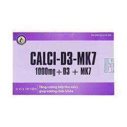 Calci-D3-MK7 1000mg + D3 + MK7 bổ sung canxi, ngừa loãng xương, Hộp 30 viên