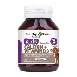 Healthy Care Kids Calcium + Vitamin D3 Chewable (Từ 2 – 12 tuổi), Chai 60 viên