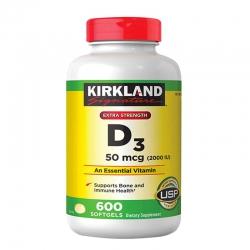 Kirkland Vitamin D3 50mcg (2000IU), Chai 600 viên
