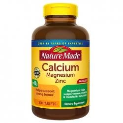 Nature Made Calcium Magnesium Zinc bổ sung canxi, magie và kẽm ngừa loãng xương, Chai 300 viên