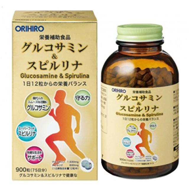 Xương khớp Orihiro Glucosamine & Spirulina Orihiro Nhật Bản | Chai 900 Viên